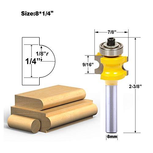 NO LOGO ZZB-ZT, 1Pc 8mm Schaft Bullnose Router Bit Set C3 Hartmetall zum Holzschneider (Size : D 22.2mm)