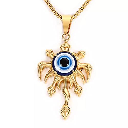 OYHBV Collar Pulpo Grande En Forma De Colgante De Collar De Piedra De Ojo Malvado Turco Azul En Acero Inoxidable Color Dorado Plateado Elegir