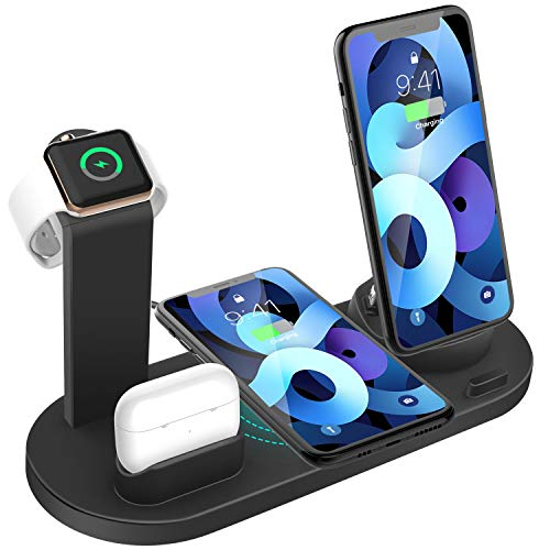 Wireless Charger 4 in 1 Charging Dock for iWatch and Airpods Pro Charging Station Charging Stand for iPhone 12/12 Mini/11 Pro Max/SE/X/XR/Xs Max 8/8...