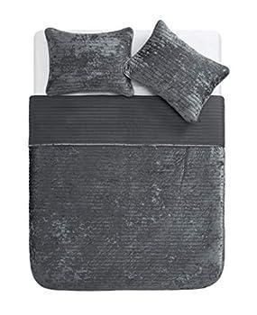 Tahari Home | Bronn Bedding Collection | Luxury Premium Ultra Soft Quilt Coverlet Comfortable 3 Piece Set Designer Modern Stylish Crushed Velvet King Grey