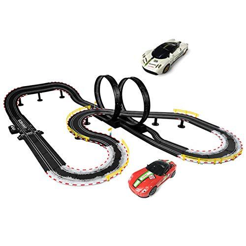 LINGLING 1:43 Slot Car Race Track Racing Pista eléctrica para niños Juguete de Carreras Coche de Control Remoto Gran Juego Doble 6 años Niño Regalo de cumpleaños
