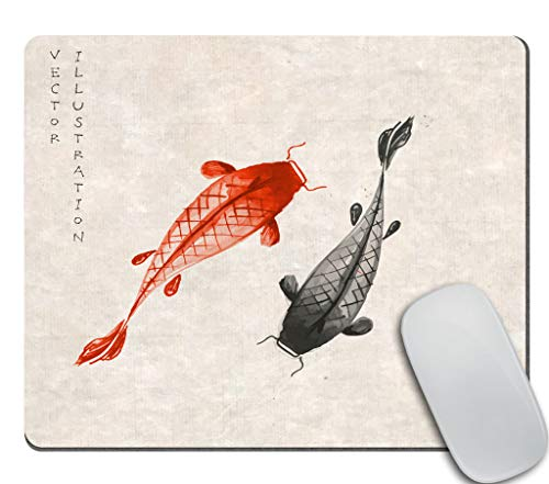 Amcove Office Desk Accessories,Red and Black koi carps Hand Drawn with Ink in Traditional Japanese Mouse Pad, Office Decor for Women, Office Gifts, Desk Decor