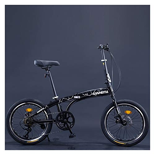 Youpin Bicicleta plegable de 7 velocidades, 20 pulgadas, para adultos y adolescentes, con doble freno de disco portátil, para estudiantes, bicicleta de carreras (color: negro)