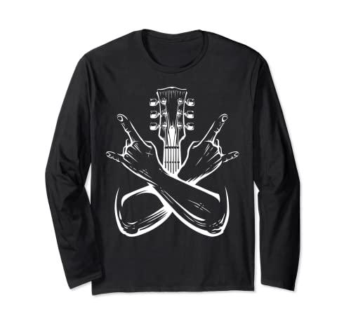 E Guitarrista Camisa Rock Band Fan Heavy Metal Manga Larga