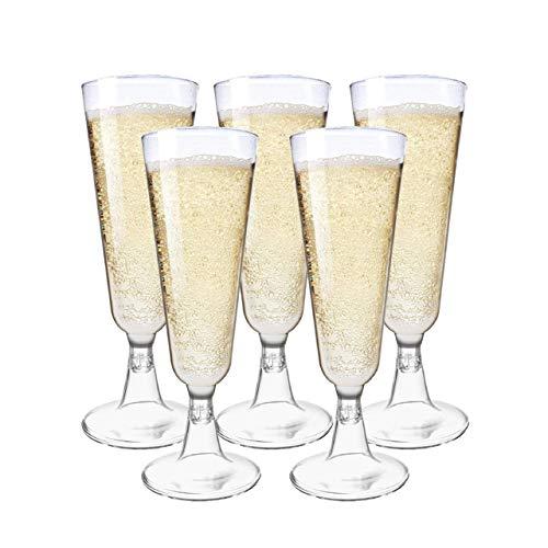 matana 48 Stück Transparente Plastik Sektgläser, 150ml - Elegant, Stabil & Wiederverwendbar - Party Champagnergläser aus Kunststoff.