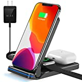 Wireless Charger, 3 in 1 Wireless Charger Station for iWatch, AirPods Pro/2, Qi Fast Foldable Wireless Charging Stand for iPhone 12/11 Series/XS MAX/XS/XR/X/8/8 Plus, Samsung (Black)