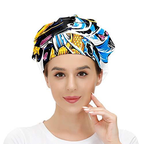 Gorra de trabajo para el pelo largo con banda elástica ajustable para el sudor Gorras de trabajo para los hombres de trabajo bufanda 3D impresa sombreros acuarela peces