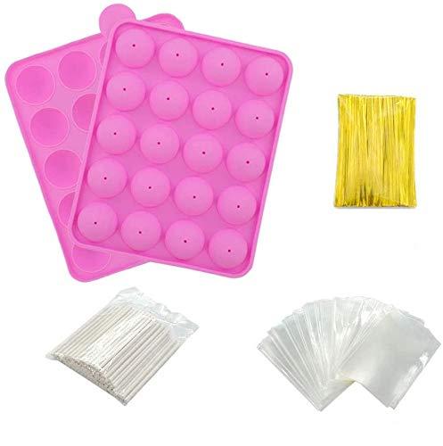 Set di stampi per cake pop, in silicone senza bisfenolo A + 100 bastoncini per cake pop + 100 sacchetti per dolcetti + 100 fascette, ideali per caramelle, lecca-lecca, cake pop e cupcake