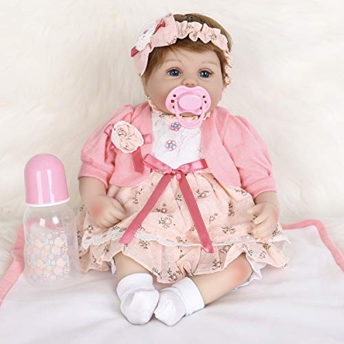 ENA Reborn Baby Doll Realistic Silicone Vinyl Baby Pink Hairband Girl 16 inch Weighted Soft Body Lifelike Doll Gift Set for Ages 3+(Pink Hairband)