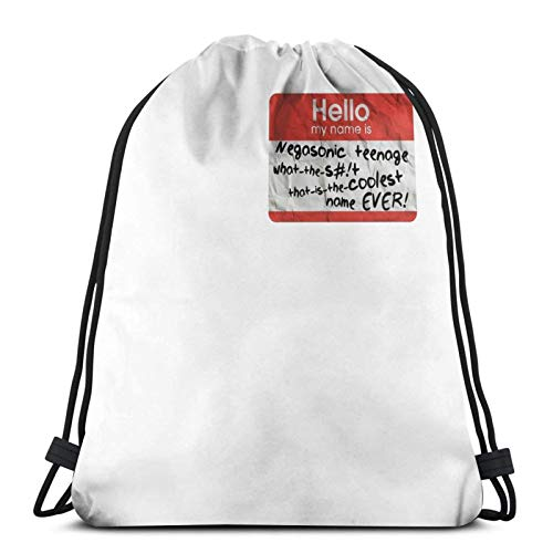 Coolest Nametag Ever Sport Sackpack Drawstring Backpack Gym Bag Sack