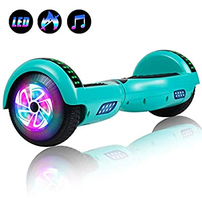 """Felimoda 6.5"""" inch Two Wheels Electric Smart Self Balancing Scooter Hoverboard with Wireless Speaker LED Light-UL 2272 Certified for Kids Gift and Adult,Red"""