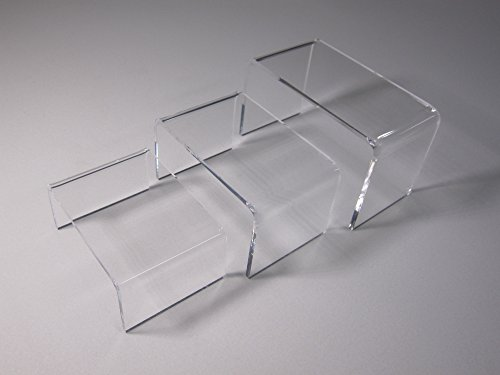 3 Piece Set Clear Riser Acrylic Small Showcase Jewelry Fixtures (3p-Riser-Small)