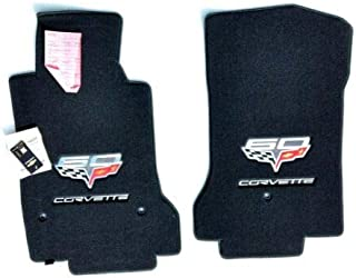 Lloyd Mats Compatible with Late 2013 Corvette - Floor Mats 2PC Ebony W/Double 60th Anniversary Logos