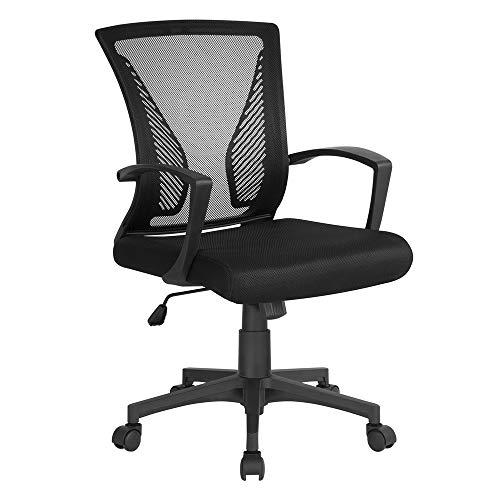 Yaheetech Chaise de Bureau à Roulettes Pivotante Fauteuil pour Ordinateur en Maille Mesh Hauteur Réglable Inclinable Noir