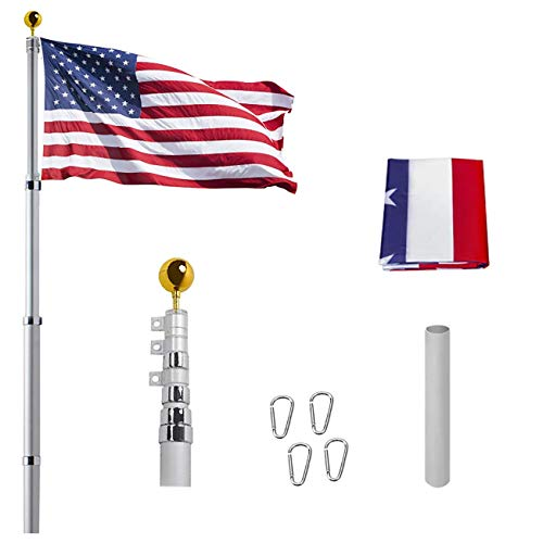 "20FT Telescoping Flag Pole Kit, Heavy Duty Aluminum 16 Gauge Tangle Free Spinning US Flagpole Kit with 3""x5"" USA Flag for Residential and Commercial,Garden Flag Pole"