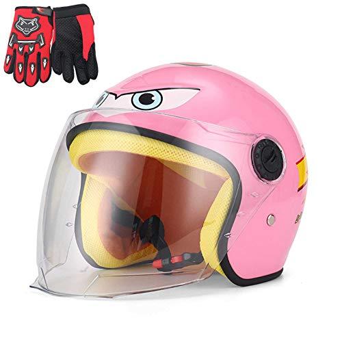 QZH Cascos para Bicicletas de Motos, Infantiles Motocicleta Half Casco con Guante...