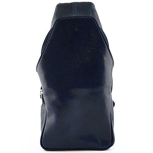 Zaino Monospalla In Vera Pelle Con Tasca Frontale Colore Blu - Pelletteria Toscana Made In Italy - Zaino