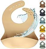 Silikon Baby Lätzchen mit Auffangschale | Silikonlätzchen Cream für Junge/Mädchen | BPA-frei, Ergonomisch, Wasserdicht, Abwaschbar & leicht zu reinigen (Cream, Beige)