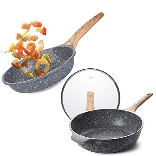Caannasweis Nonstick Pan, Nonstick Stone Deep Frying Pan, Best Nonstick Omelette Skillet with Soft Touch Handle, Induction Compatible (9.5 Inch)