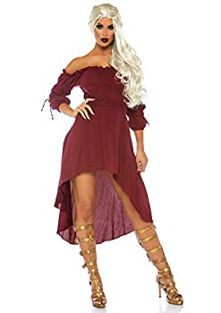 Leg Avenue Women s S Gauze High Low Peasant Dress with Tie Up Waist and Sleeves Burgundy Small/Medium