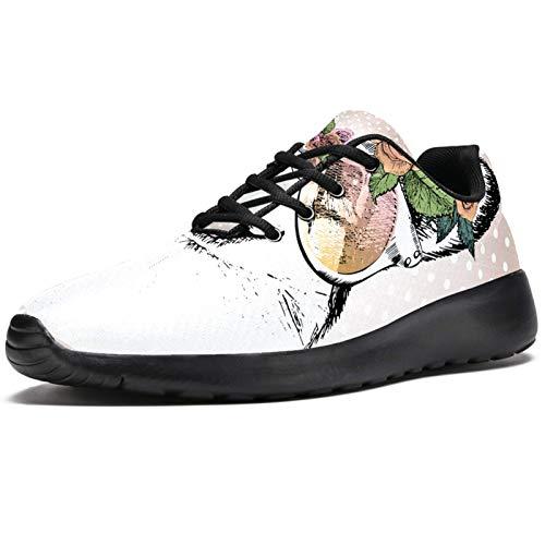 Zapatillas deportivas para correr para mujer galés Corgi Dog Fashion Zapatillas de deporte de malla transpirable caminar senderismo tenis, color, talla 39.5 EU