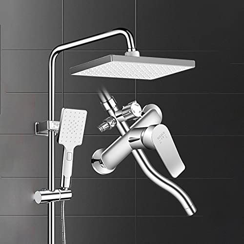 Juego de ducha presurizado, cabezal de ducha fijo ajustable de ángulo, interruptor de salida de agua giratoria de 3 controles de 3 controles, varilla de elevación ajustable de altura, para barra de ba