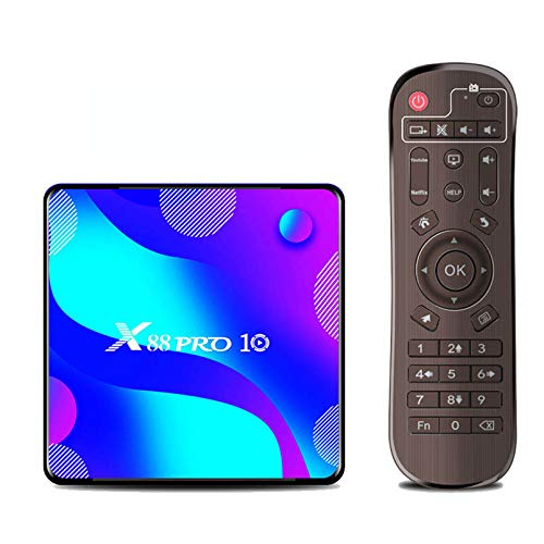 MMFFYZ Android 10.0 Smart TV Box 16GB 32GB 64GB Asistente de Voz de Google 2.4G 4GHz WiFi Bluetooth 6K Reproductor Multimedia 3D Set Top Box(Size:4GB+32GB)