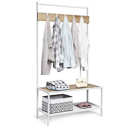 COSTWAY Garderobenständer mit Sitzbank, Kleiderständer mit Schuhablage, Garderobe Flurgarderobe Metallgestell