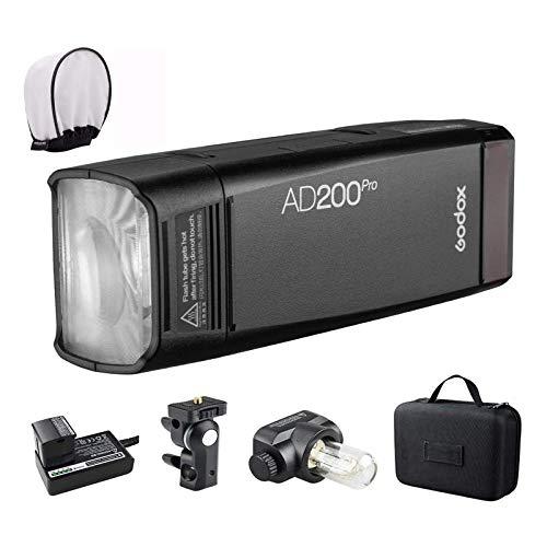 Godox AD200 Pro Version, 200Ws 2.4G Flash, 1/8000 HSS, 500 Flashes a Plena Potencia, 0.01-2.1s Recycling, Tiempo de Reciclaje para DSLR cámara