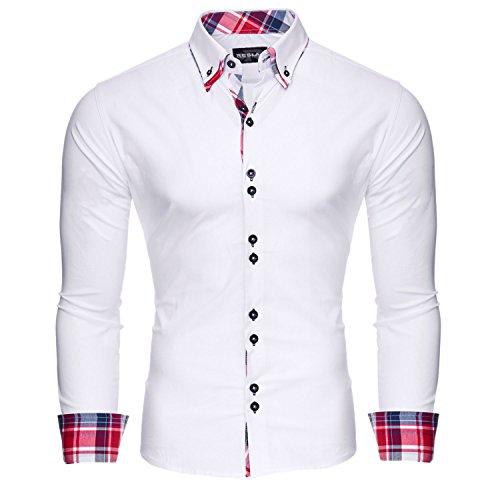 Reslad Herren Hemd Slim Fit Bügelleicht Ideal für Anzug, Business, Hochzeit | Freizeithemd Langarm Männer-Hemden RS-7015 Weiß 2XL