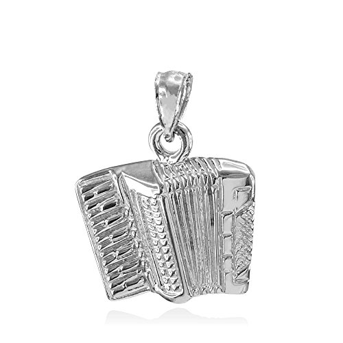 925 Sterling Silver Music Charm Accordion Pendant