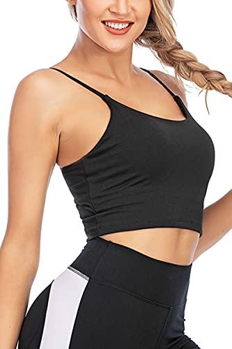 DeuYeng Mujeres Color sólido Deportes Bustier sin mangas Bras Fitness Entrenamiento Correr Yoga Strappy Camisola Crop Top Bra