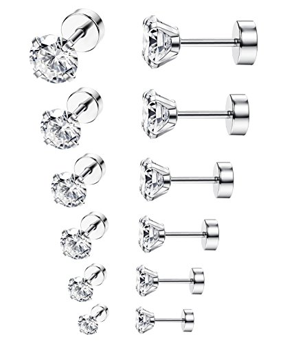 ORAZIO 6 Pairs 18G Stainless Steel Ear Stud Piercing Barbell Studs Earrings Round Cubic Zirconia Inlaid
