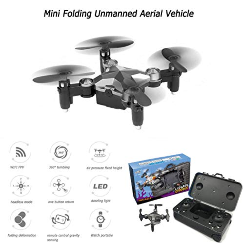 ToDIDAF Portable Drone Mini Folding Unmanned Aerial Vehicle Pocket Drone Four-Axis Aircraft, Great Gift for Kid Friend Traveller Photographer Outdoor Sport Lover (Gray)