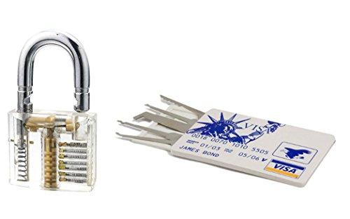 GEO-VERSAND Kreditkarte Lockpicking - Übungsschloss 4 Pins, mehrfarbig, 10421