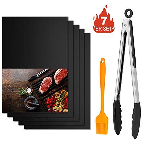 Winzwon BBQ Grillmatte, Wiederverwendbar Grillmatten, Backmatte und BBQ Antihaft Grillmatte für Fleisch, Fisch und Gemüse 40x33 cm (3 Set + 2 extra Matten +1 Pinsel + 1 Clip)