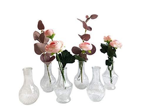 itsisa Glasvase Vintage Romance, Klarglas Vase, H: 11,5 cm, 6er Set - schöne, kleine Vase Landhaus Stil zur Tischdekoration
