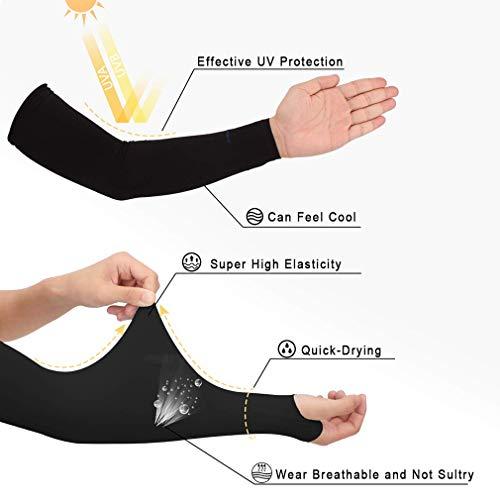 YiyiLai Outdoor Sonnenschutz Einfärbig Ärmel Schutzhülle Schutzärmel Ärmelschoner Überärmel Stutzärmel Muster # A Schwarz - 3