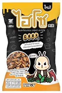 Hiso Crispy Roasted Insect Fried Chrysalis Pupae Snack (Silkworm in Fried stir spicy Flavor), 0.5 oz.(pack of 3)