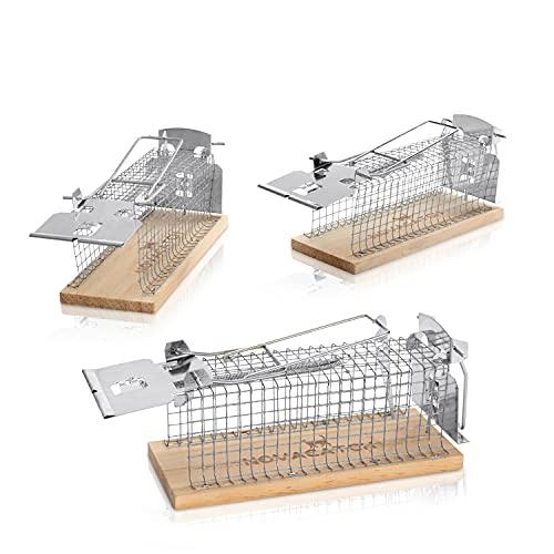 Novacatch® Mausefalle Lebend (3 Stück) – lebendfallen Mäuse mit Doppeltür für leichtes befüllen des Auslösers Inkl. Anleitung & Ködertipps - Verbesserte Falltüren verringern Verletzungsrisiko