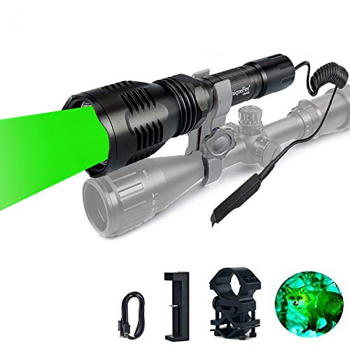 UniqueFire XRE Green Predator Light LED Tactical Flashlight丨 Zoom Focus Adjustable Torch with Dual Control Remote Pressure Switch,1'' Ring Mount,Charger Kitset for Hunting & Fishing Coyote Hog Varmint