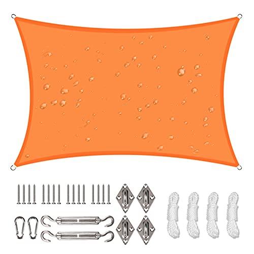 NAKIHOUSE Voile d'ombrage étanche avec kit de fixation, 3 x 5 m, protection UV pour jardin, balcon et terrasse