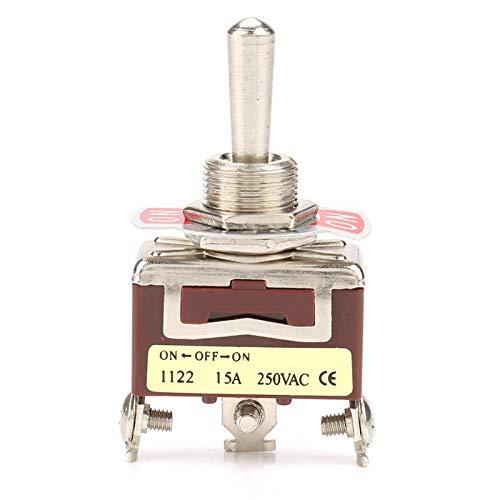 Operalie Interruptor de Palanca de 3 Posiciones, ON-Off-ON Interruptor de Palanca de 3 Posiciones 3 Pines 12mm 15A 250VAC 5PCS