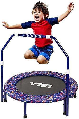 Trampolino per Bambini Esercizio Fitness Trampolino 36'' con Corrimano Regolabile e Copertura Imbottita di Sicurezza Mini Pieghevole Elastico Tappeto Rimbalzante per Interno/Esterno (blu)