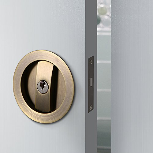 CCJH Invisible Barn Wood Sliding Door Gate Cup Handle Lock Hardware with Keys (Bronze (Dia-2.95'))