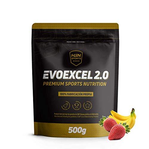 Whey Protein Isolate + Whey Protein Concentrate de HSN Evoexcel 2.0 | Batido de Proteínas para Ganar Masa Muscular, Recuperar, Perder Grasa | Vegetariano, Sabor Fresa Banana, 500g
