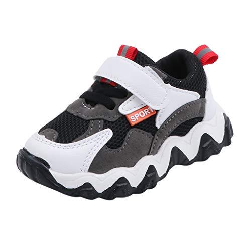 95sCloud Unisex Kinder Sneaker Turnschuhe Wander Outdoor Sportschuhe Kinder Jungen und Mädchen Hit Farbe Buchstaben Netto Tuch Schuhe Turnschuhe Freizeitschuhe Babyschuhe Shoes (Schwarz, 22)