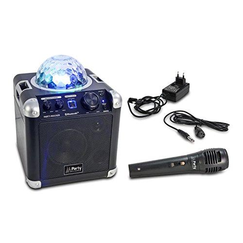 Ibiza Light & Sound PARTY-ROCKER Mobile, Kompakte Anlage mit Bluetooth, LED Lichteffekt und Mikrofon