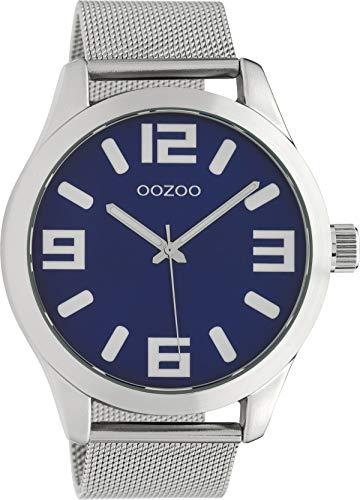 Oozoo Classic XL Herrenuhr mit Edelstahl Milanaiseband 47 mm Dunkelblaues Zifferblatt C9284