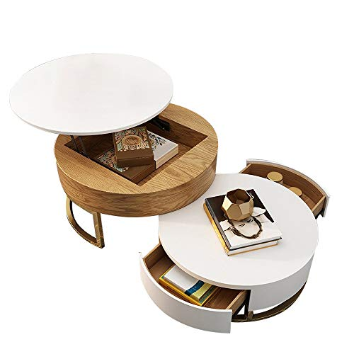 Homary Round Coffee Table White with Storage Lift-Top Wood Coffee Table Lifts up with Rotatable Drawers White Natural